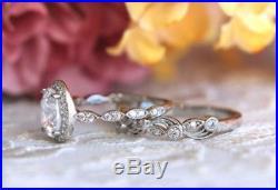 Certified 2.30Ct White Oval Cut Diamond 14K White Gold Vintage Wedding Ring Set