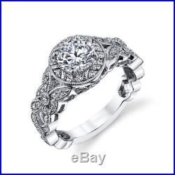 Certified 2.30Ct White Round Cut Diamond Vintage Wedding Ring 14k White Gold