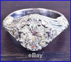 Certified 2.30ct Round Cut White Diamond 14k White Gold Vintage Wedding Ring Set