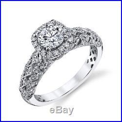 Certified 2.40CT White Round Cut Diamond Vintage Wedding Ring 14K White Gold