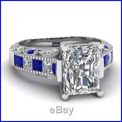 Certified 2.5CT White Diamond Vintage Engagment & Wedding Ring in14KT White Gold