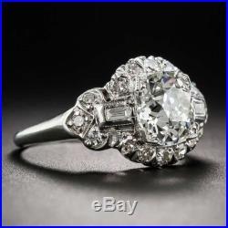 Certified 3.10Ct White Round Diamond 14K White Gold Vintage Wedding Bridal Ring