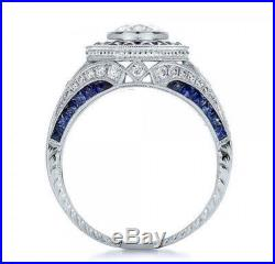 Certified 3.10Ct White Round Diamond Vintage Wedding Bridal Ring 14K White Gold