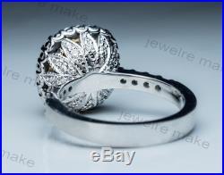 Certified 3.25ct Cushion Yellow Diamond Vintage Engagement Wedding 14K Gold Ring