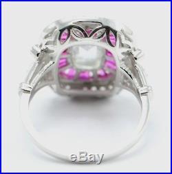 Certified 3.50Ct White Oval Diamond Art Deco Vintage Wedding Ring 4K White Gold