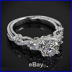 Certified Vintage 2.45ct White Round Cut Diamond Wedding Ring In 14kt White Gold