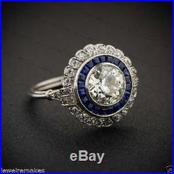 Certified Vintage Art Deco 2.40ct White Round Wedding Engagement 14K Gold Ring