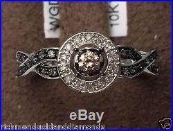 Champagne Brown Diamonds White Gold Halo Engagement Wedding Ring Vintage