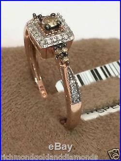 Champagne Diamond 10k Rose Gold Halo Engagement Ring Bridal Vintage Bridal
