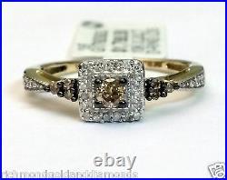 Champagne Diamond 10k Yellow Gold Halo Engagement Ring Bridal Vintage Bridal Set