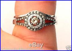 Champagne Diamond 14k White Gold Halo Engagement Ring Bridal Vintage Bridal Set