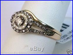 Champagne Diamond 14k Yellow Gold Halo Engagement Ring Bridal Vintage Bridal Set