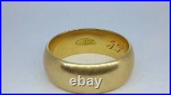 Classic Antique Vintage 18K Yellow Gold Wedding Band Ring 7mm wide