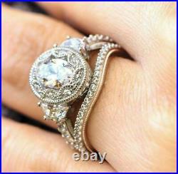 Classic Vintage Bridal Set Engagement & Wedding Ring 3 Ct Diamond 14k White Gold