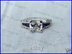 Cushion Cut White Diamond Vintage Art Deco Engagement & Wedding Ring 925 Silver