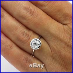 Diamond Round Ring Solitaire Bezel Setting Vintage Vs1 Wedding 18k White Gold