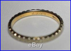 Dated 1909 Vintage 18K Floral Two Tone White Rose Gold Wedding Band Ring