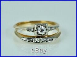 Dated 1935 Art Deco Diamond Engagement Ring Wedding Band Set Vintage 14K 18K Old