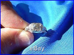 Deco European Cut Diamond wedding Engagement Ring Antique Vintage Solitaire