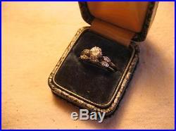 Diamond Wedding Ring Set 1968 Vintage 14K White Gold Exquisite ½ caret center