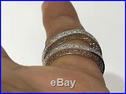 Diamonds Ring Guard Wrap White Gold Solitaire Enhancer Wedding Vintage Milgrain