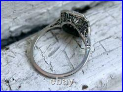 Double Halo Engagement Wedding Vintage Art Ring 3 Ct Diamond 14k White Gold Over
