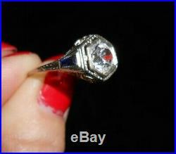 Edwardian 18K Wedding Ring Sapphire Filigree Antiq 1890s Era Engagement