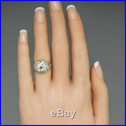Edwardian Vintage Antique Engagement Wedding Ring 2 Ct Diamond 14k White Gold Fn