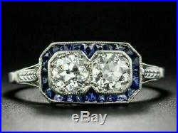 Edwardian Vintage & Antique Wedding Sapphire Ring 14k White Gold Fn 4 Ct Diamond