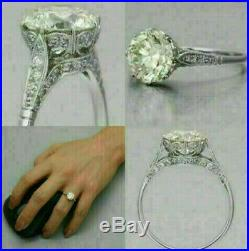 Edwardian Vintage Engagement Wedding Ring 2Ct Round Diamond 14K White Gold Over