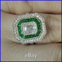 Emerald Vintage Diamond Ring Wedding Engagement White Gold Finish Soulmate Ring