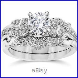 Emery 3/4Ct Vintage Diamond Filigree Engagement Wedding Ring Set 14K White Gold