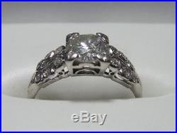 Engagement / Wedding Ring Platinum & Diamond Approx 1ct round Vintage Size 5