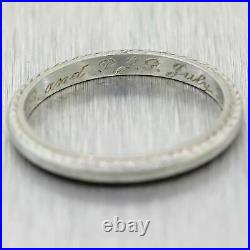 Engraved 07-3-1930 Antique Art Deco Etched Wedding Band Ring