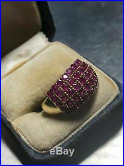 Estate 1970s Vintage 2.10 CT Natural Ruby Wedding Ring In 14k Yellow Gold Over