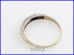 Estate 1/5 CT Platinum Diamond Wedding Band Etched Art Deco Ring Vintage Bridal