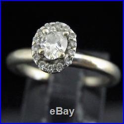 Estate Diamond Engagement Ring Oval 14k White Gold Halo Vintage Bridal Gift