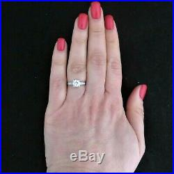 Estate Diamond Platinum Engagement Ring Vintage Old European Cut Bridal Gift