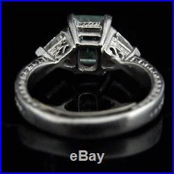 Estate Emerald Diamond Platinum Ring Engagement Vintage Trillion Cut Bridal