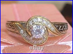 Estate Vintage 10k Gold Genuine Diamond Engagement Wedding Ring Designer Signed