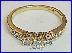 Estate Vintage 14k Gold 3 Stone Genuine Natural Diamond Ring Wedding Engagement