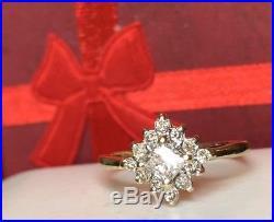 Estate Vintage 14k Gold Diamond Halo Ring Engagement Wedding Designer Signed Adl