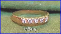 Estate Vintage 14k Gold Diamond Ring Band Wedding Anniversary Art Deco Pave Set