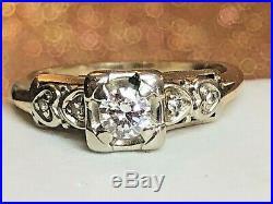 Estate Vintage 14k Gold Diamond Ring Engagement Wedding Diamond Heart Sides