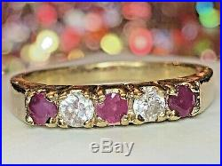 Estate Vintage 14k Gold Diamond Ruby Band Ring Wedding Anniversary Signed Kge