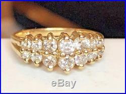 Estate Vintage 14k Gold Genuine Diamond Wedding Band Ring Double Row Graduated