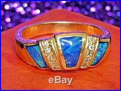 Estate Vintage 14k Gold Natural Australian Opal Diamond Ring Wedding Band