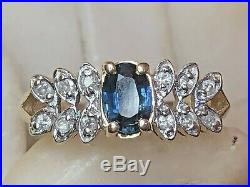Estate Vintage 14k Gold Natural Blue Sapphire & Diamond Ring Engagement Wedding