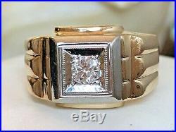 Estate Vintage 14k Gold Natural Diamond Men's Band Ring Wedding Signed Skal