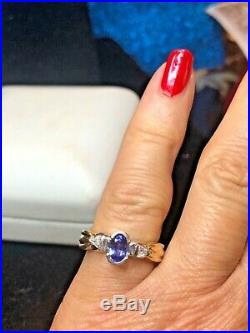 Estate Vintage 14k Gold Natural Genuine Diamond & Tanzanite Ring With Appraisal